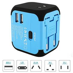 Fannybuy Universal Travel Adapter with USB, Worldwide All-in