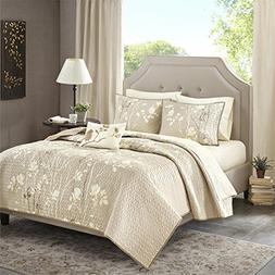 Vaughn Complete Coverlet and Cotton Sheet Set Taupe Cal King
