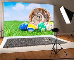 Laeacco 9x6ft Vinyl Photography Backdrop Happy Easter Bunny
