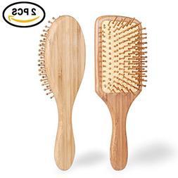 Hair Brush - ELVASEN 2 Pack Natural Wood Paddle Brush Detang
