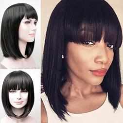 RUISENNA Women's Yaki Synthetic Full Hair Wigs Short Straigh